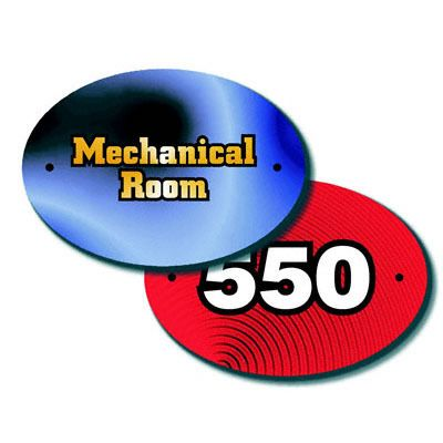 """$5.00 Door Plate, Oval, Fiberglass Reinforced Plastic, Gloss, 3""""x 5"""" oval with 2 mounting holes. Imprint as a novelty item with logo for hotel business."""