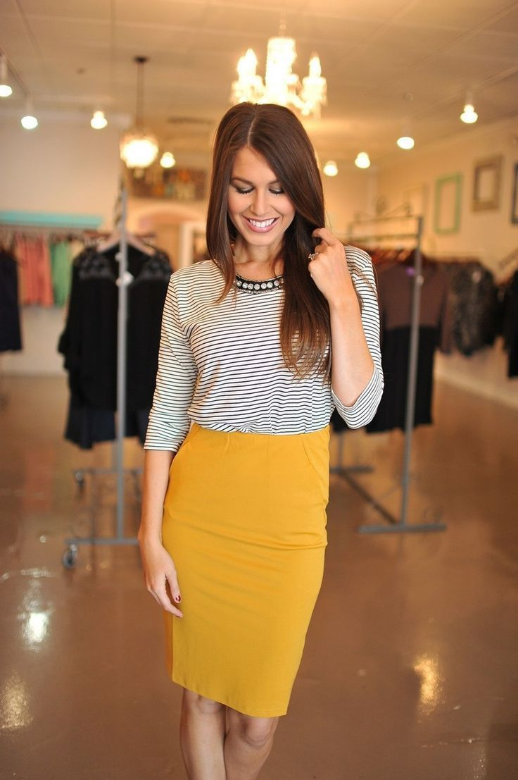 a19756f12a professional pencil skirt outfits | ... top and mustard pencil skirt 3  Gorgeous Ways to Wear a Pencil Skirt