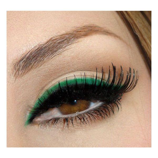 Green Eyeliner Inspiration ❤ liked on Polyvore