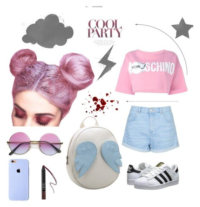 """pink♠love"" by nirovalino ❤ liked on Polyvore featuring Topshop, Moschino, Chicnova Fashion and adidas Originals"