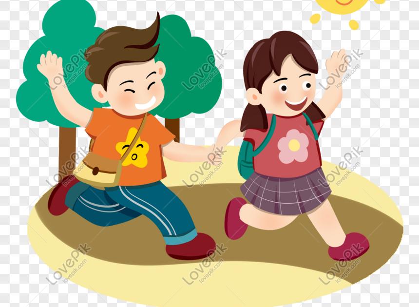 30 Gambar Kartun Anak Pergi Ke Sekolah Teman Teman Kecil Bergandengan Tangan Untuk Pergi Ke Sekolah Download Mahaguru58 Down Gambar Kartun Kartun Gambar