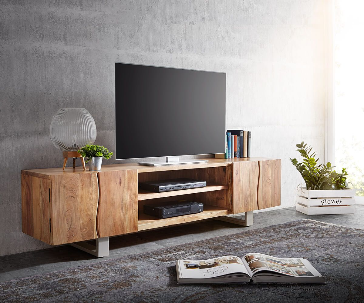 delife lowboard live edge 200 cm akazie natur 2 t ren 2 f cher fernsehtische baumkantenm bel. Black Bedroom Furniture Sets. Home Design Ideas
