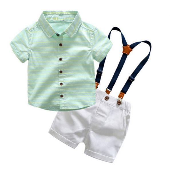 Conjunto Casual para Meninos de Camisa e Bermuda de Suspensório - Elegante ( 3-7 42dba56d5041b
