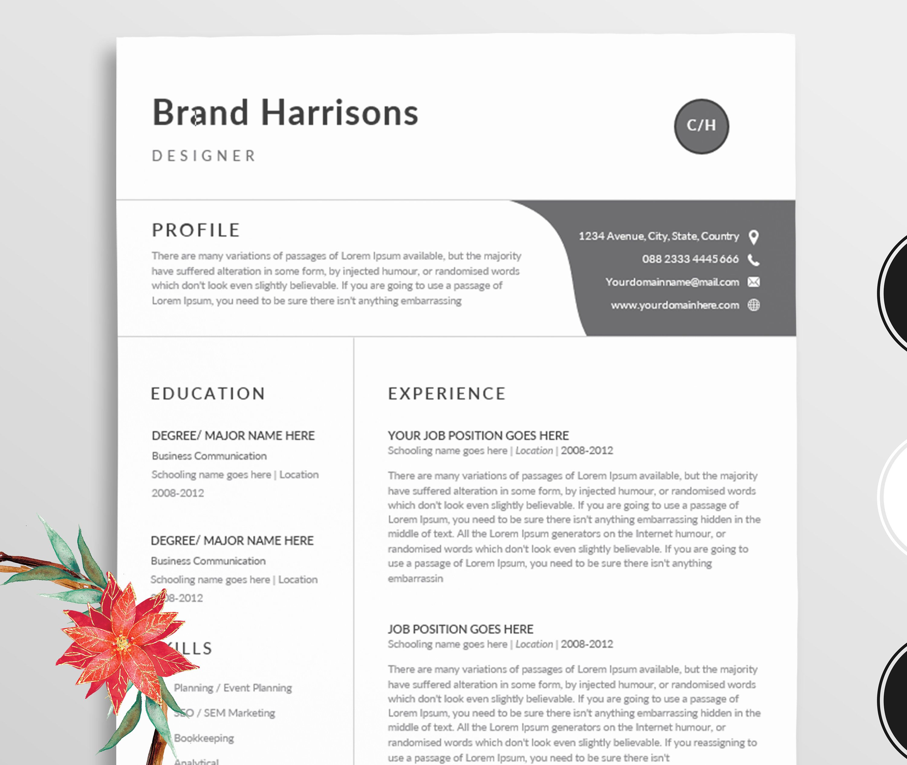 ResumeProfessional Resume Template Word  Modern Resume Template