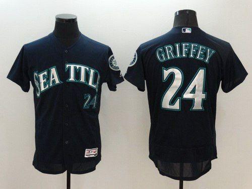 Men's Seattle Mariners #24 Ken Griffey Jr. Retired Navy Blue 2016 Flexbase Majestic Baseball Jersey