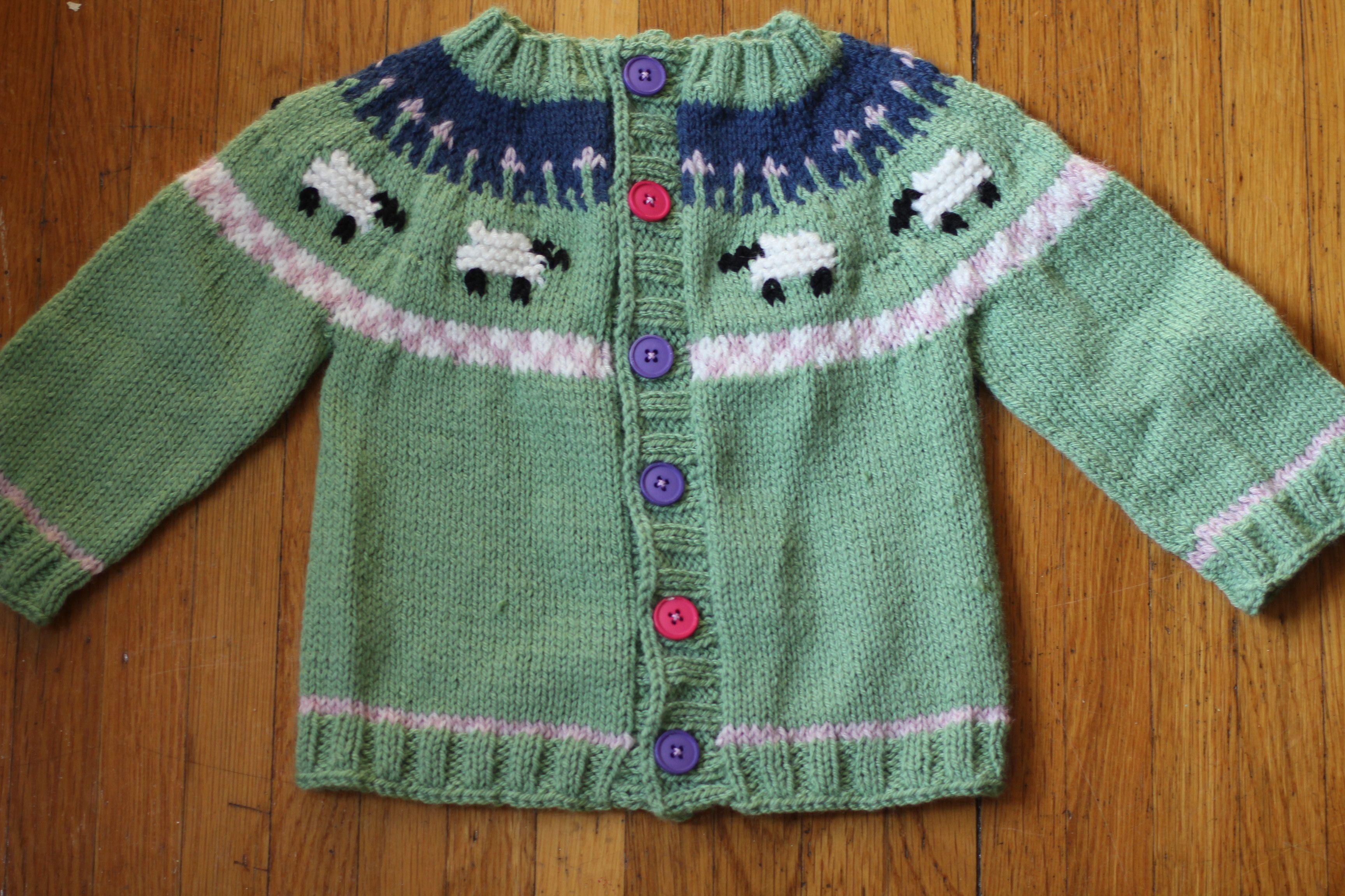 sheep baby sweater knitting pattern yoke | Baby knits | Pinterest ...