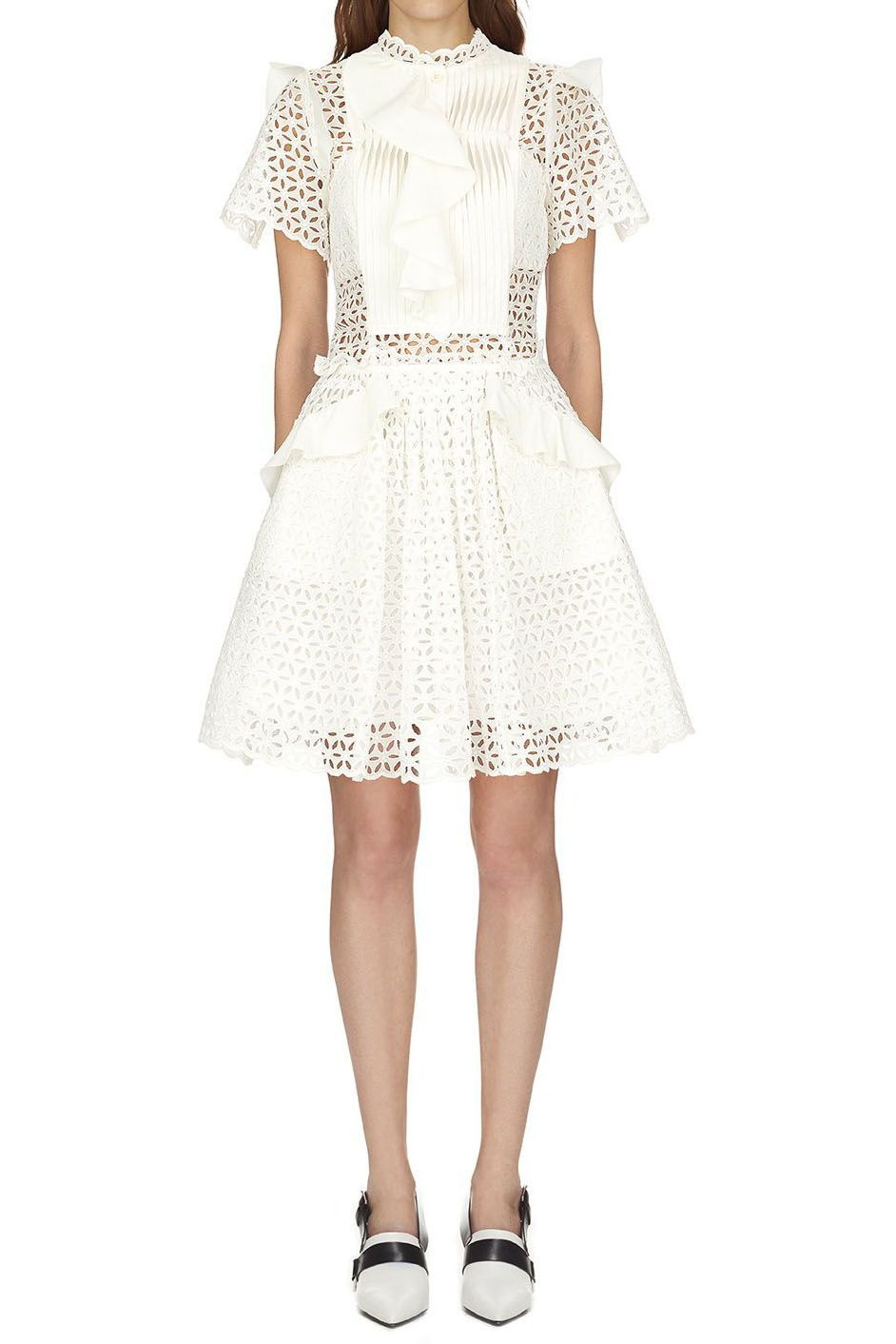 c92e9b97b568 Self Portrait Broderie Anglaise Frilled Mini Dress | Clothes | Self ...