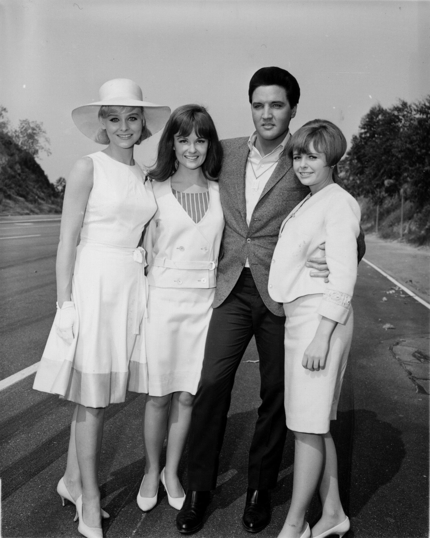 Elvis with spinout female costars diane mcbain shelley fabares and deborah walley