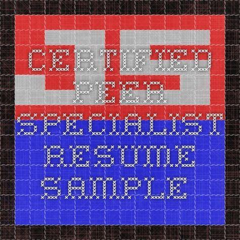 Certified Peer Specialist resume sample peer support specialist