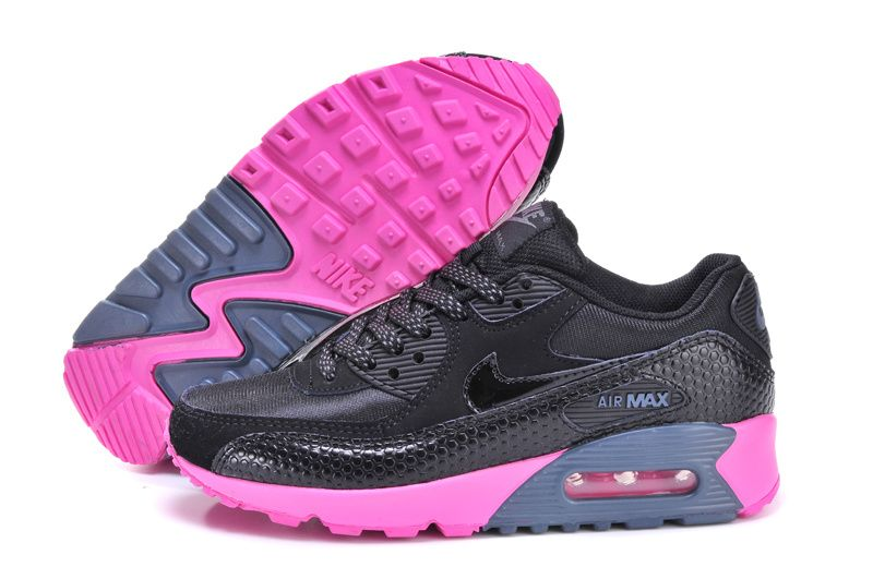 reputable site b966c 3925d Womens Nike Air Max 90 Black Black Dark Armory Blue Pink Flash Shoes