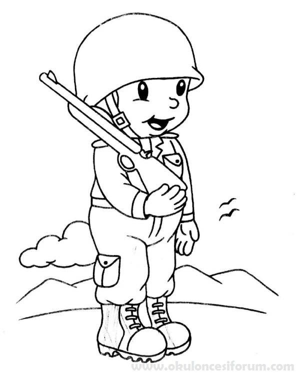 Asker Boyama Ve Etkinlikleri Okul Oncesi Etkinlikleri Boyama Sayfalari Boyama Kitaplari Okul Oncesi
