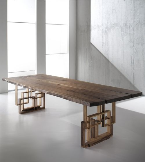 Vero Dining Table by AB Design. The mix of modern and rustic elements makes this rectangular table for 6 unique. The solid wood top contrasts beautifully with the geometric metal base. We love this modern dining table!