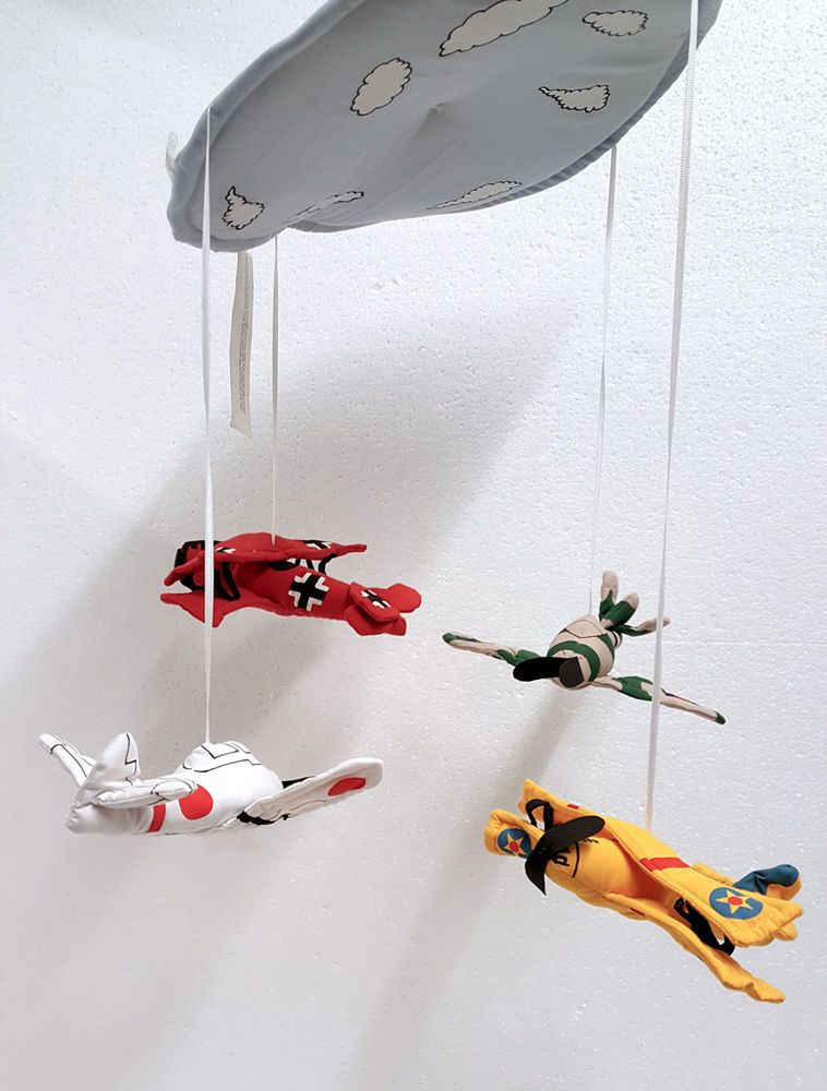 Handmade Baby Nursery Mobile Hanging Decoration Airplanes Fighter Planes In Furniture Mobiles