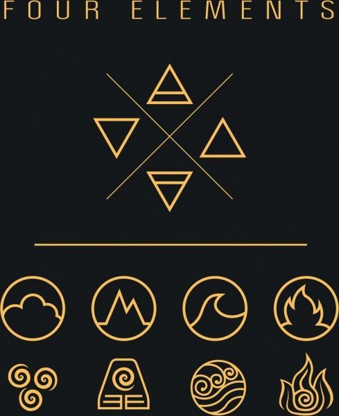 four elements icons flat geometric shapes sketch four elements icons flat geometric shapes sketch