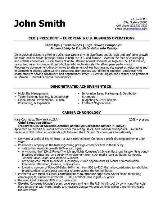 Marvelous Ceo Sample Resume Idea Ceo Resume Samples