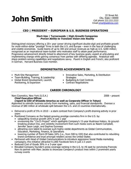 Ceo President Resume Template Premium Resume Samples Example Executive Resume Template Resume Template Executive Resume