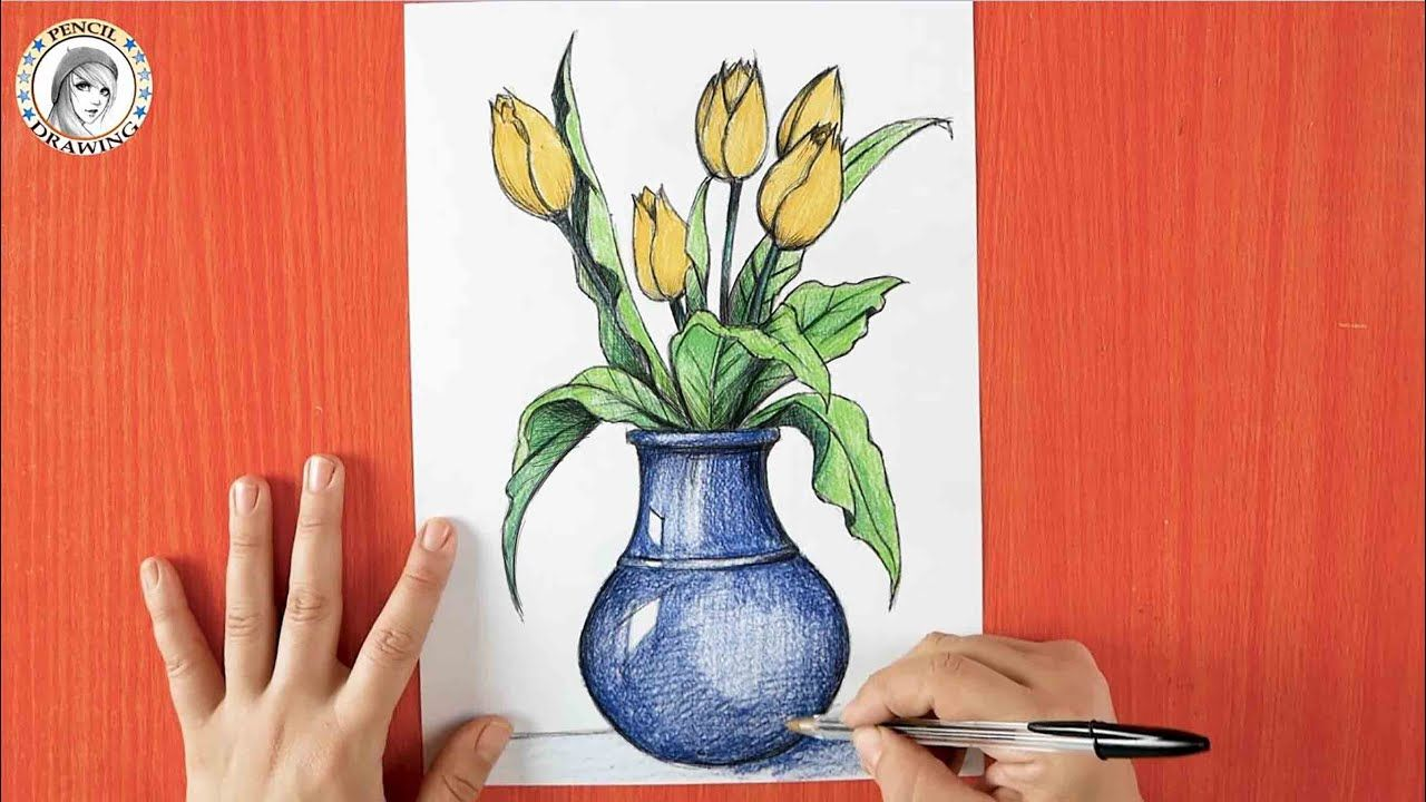 How To Draw Flowers With Vase رسم زهور كيف أرسم مزهرية In 2021 Pencil Drawings Drawing For Beginners Drawings