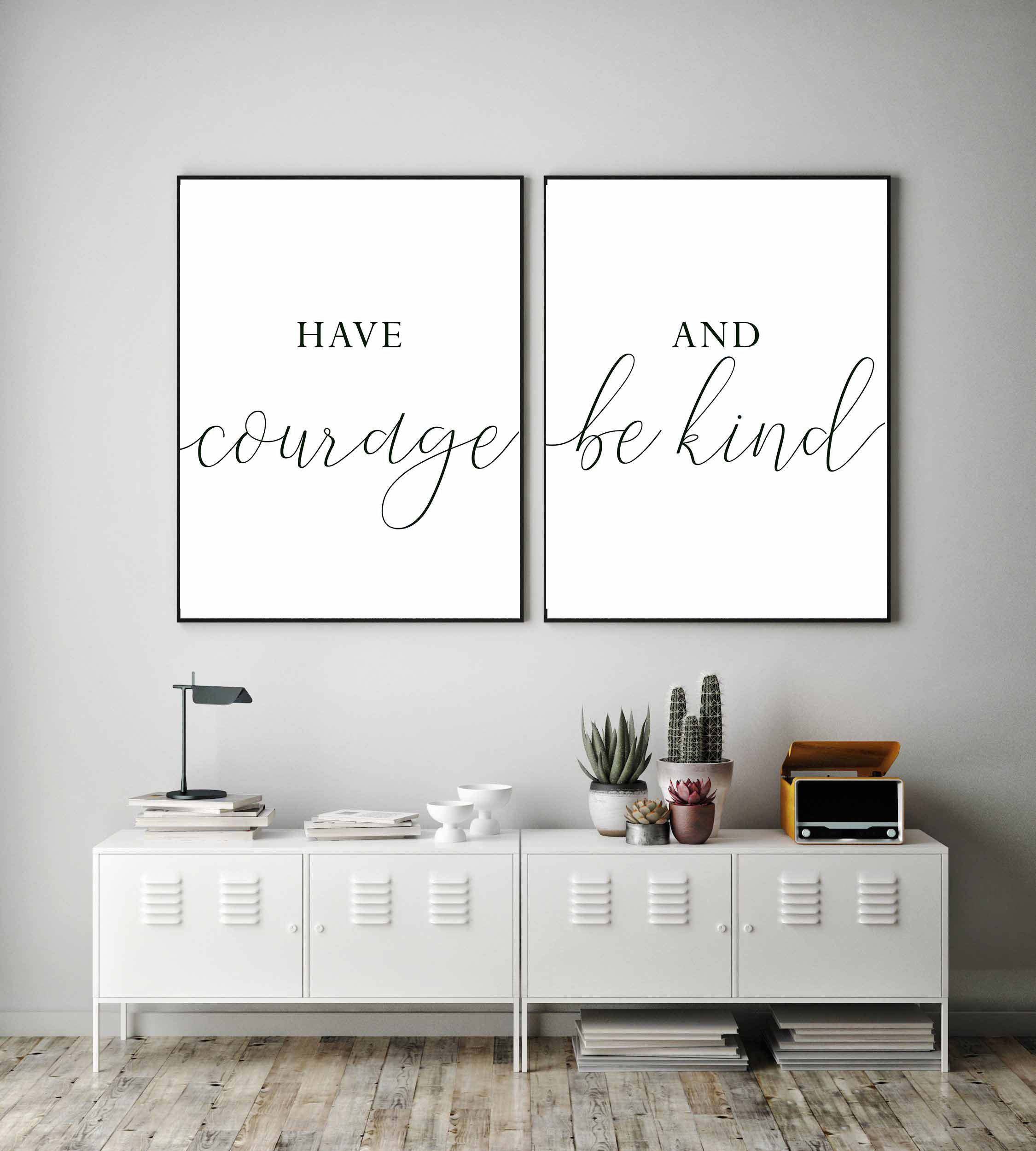 Printable Wall Arthave Courage And Be Kindnursery Decorset Etsy Wall Printables Wall Decor Bedroom East Urban Home