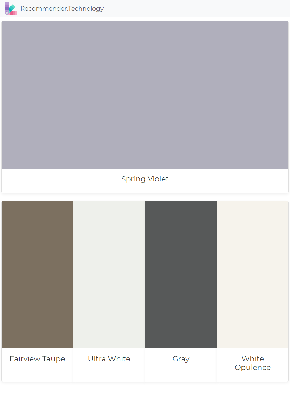 Spring Violet Fairview Taupe Ultra White Gray White Opulence Paint Colors Benjamin Moore Paint Color Palettes Perfect Paint Color