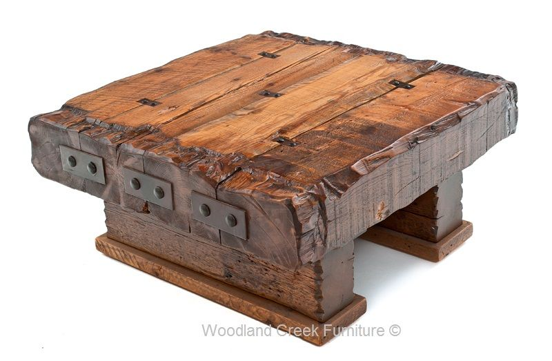 Wood Beam Coffee Table Massive Reclaimed Timbers Solid