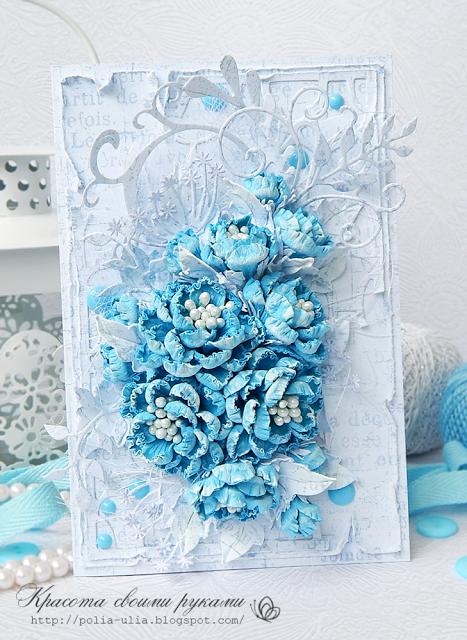 синие цветы для открытки своими руками тонкого тесто нет