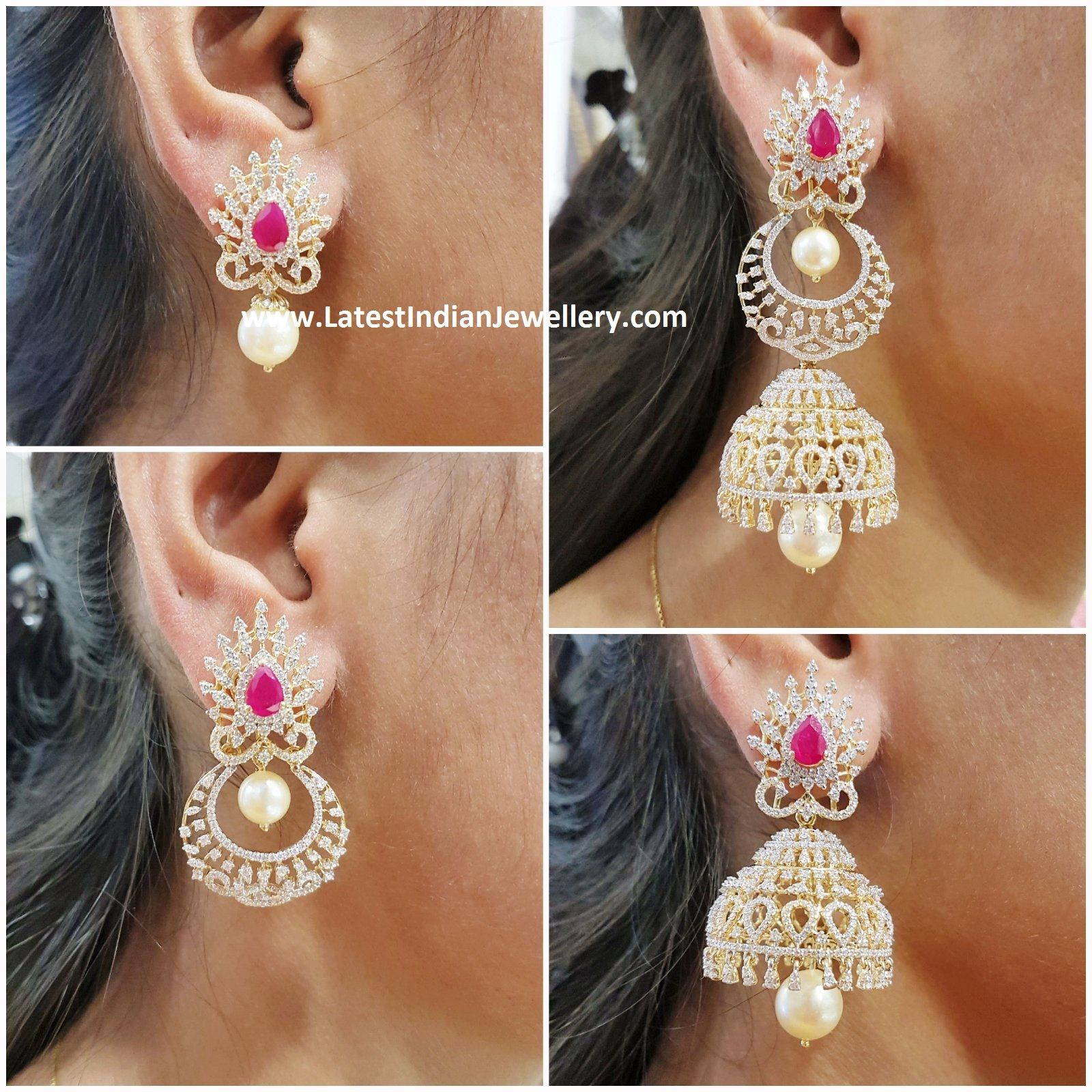 4 In 1 Detachable Diamond Jhumki Gold Earrings Designs