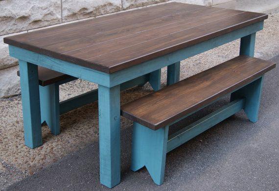 Farm Table Blue Farm Table Harvest Table Two Toned Farm Table Distressed Farm Table With Images Farm Table Harvest Table Farm Style Table