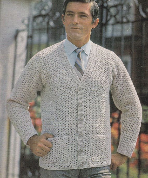 PDF crochet men\'s cardigan vintage crochet pattern pdf INSTANT ...