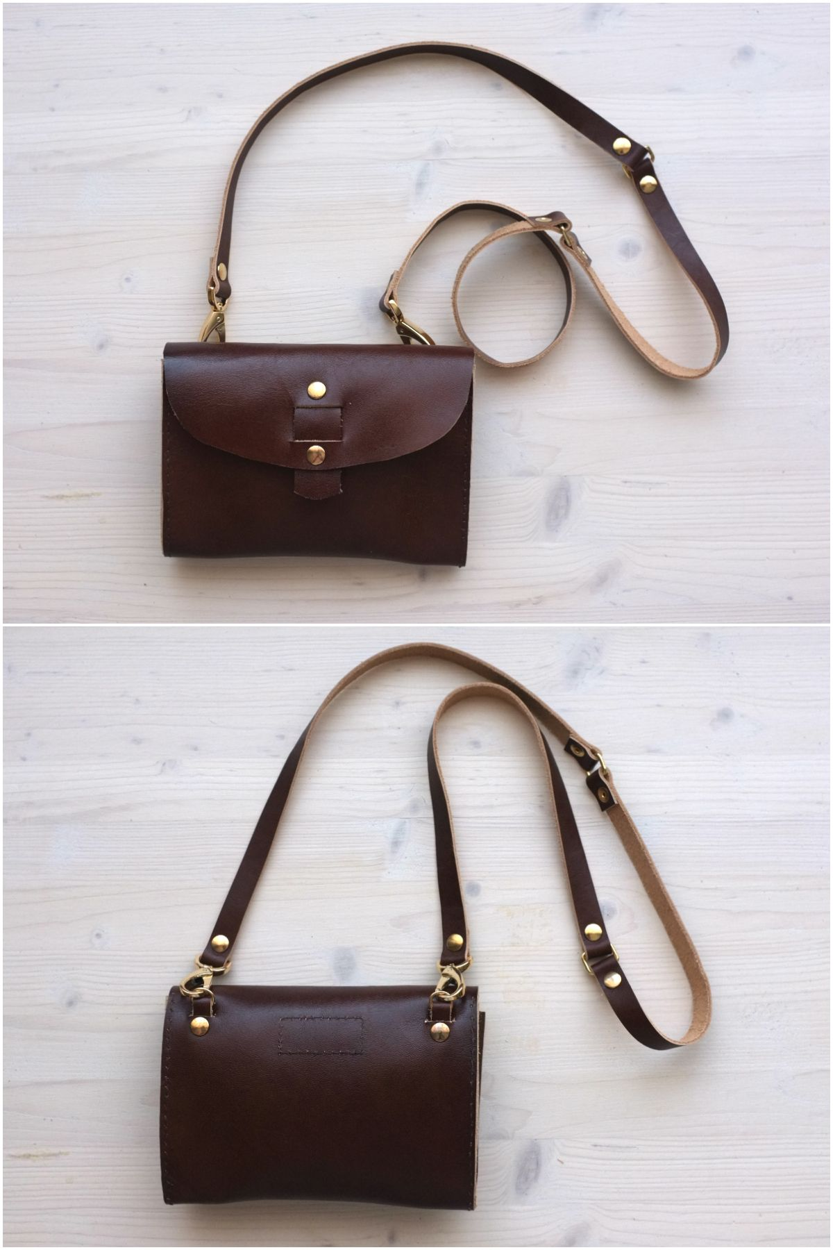 A Very Nice Small Leather Bag From Distories On Etsy Smallbag Brown Gold