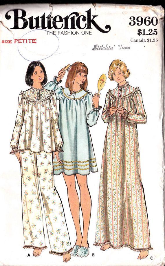 Nighties PJs, Night Gowns Pajama, Vintage Butterick 3960 Sewing ...