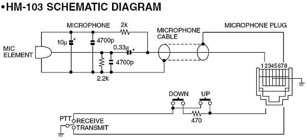 wiring diagram for icom hm 103 microphone schematic elektronik rh pinterest com CB Mic Wiring Diagrams CB Mic Wiring Diagrams