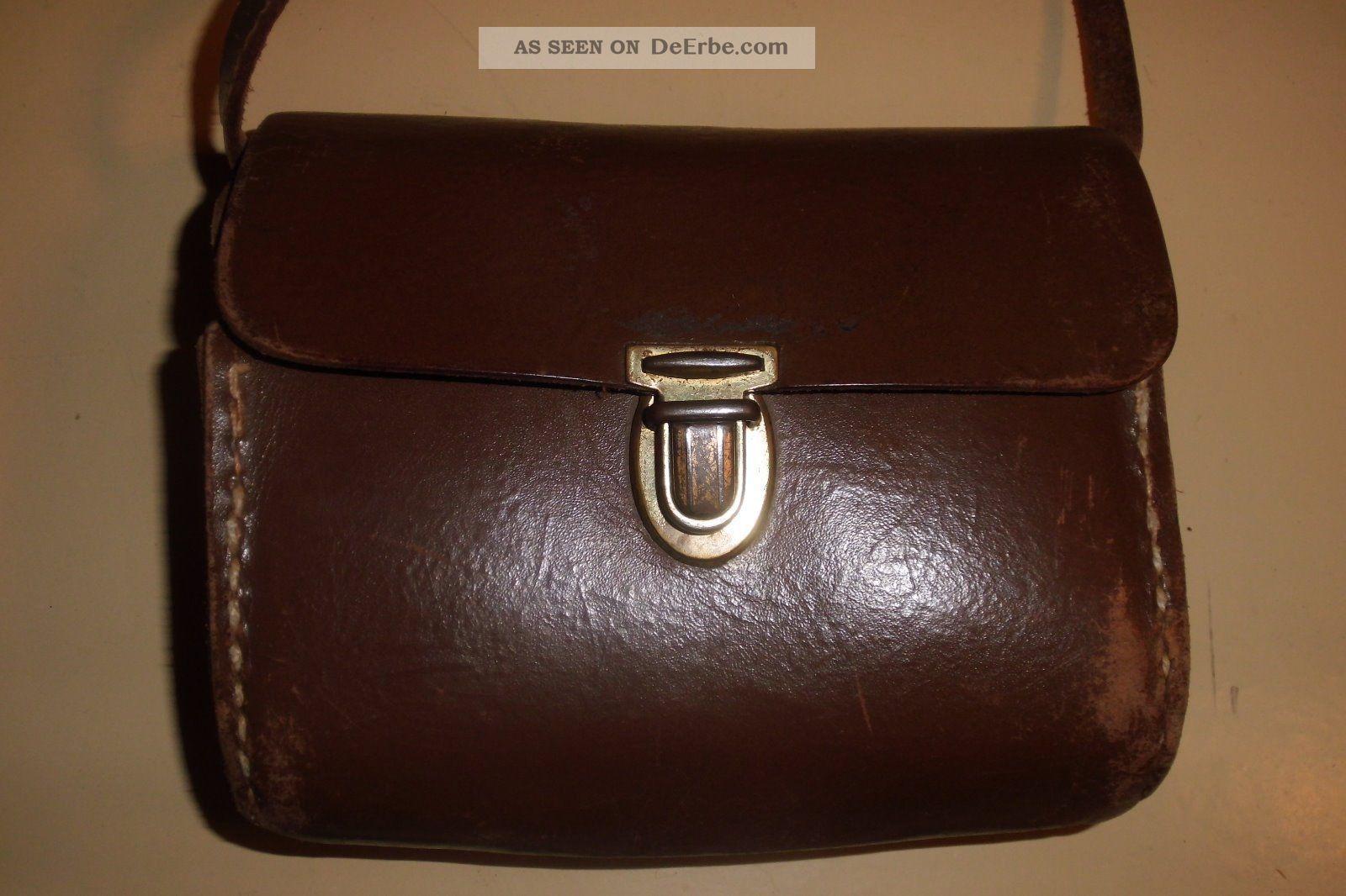 031f76c037192 Brottasche Leder Brotbeutel Kindergarten Tasche Ranzen 60er Jahre Vintage  Retro Accessoires Bild