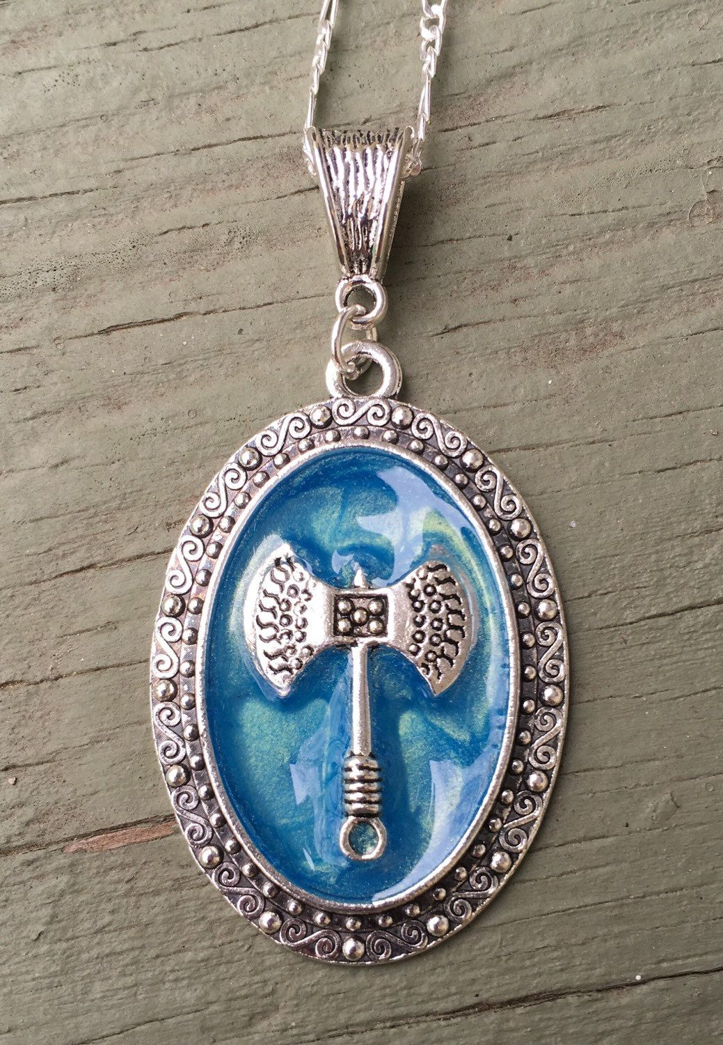 Double axe labrys oval enameled aqua blue pendant on 18 925 double axe labrys oval enameled aqua blue pendant on 18 925 sterling silver herringbone necklace symbol of strength hand crafted in the u buycottarizona Gallery