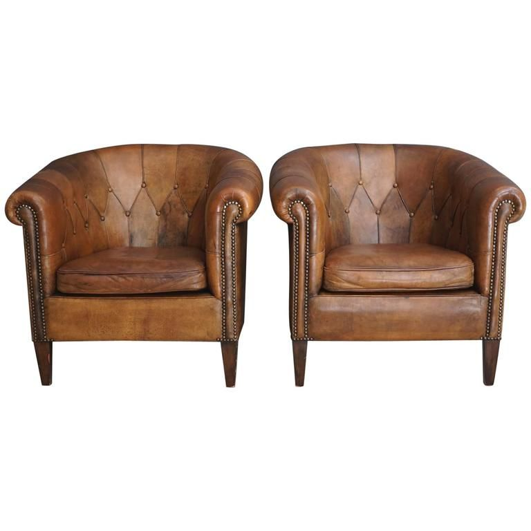 Pair of Vintage Cognac Leather Club Chairs | From a unique collection of  antique and modern - Pair Of Vintage Cognac Leather Club Chairs ❤ LEATHER CHAIRS