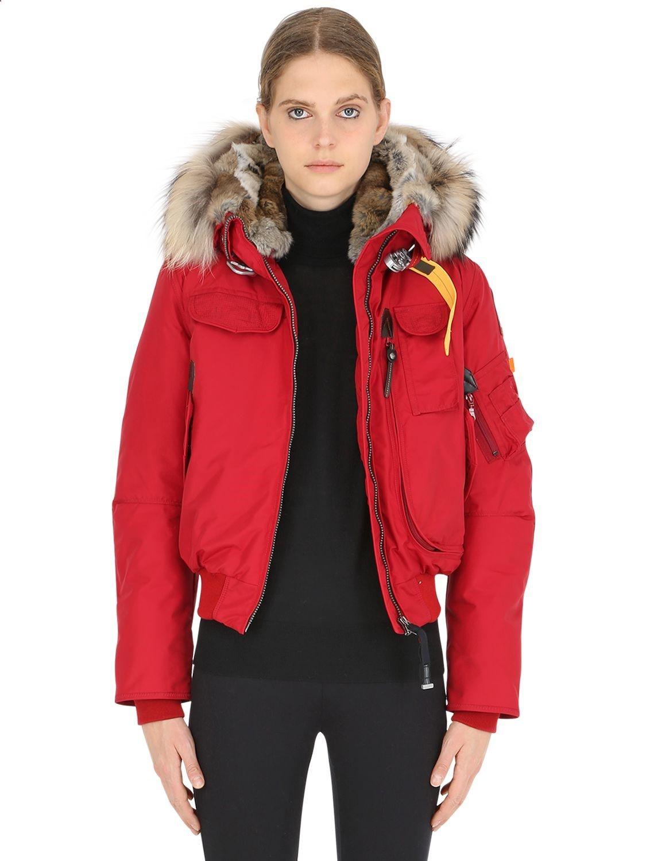 Parajumpers Gobi Down Bomber Jacket W Fur Parajumpers Cloth Fur Hood Jacket Red Hooded Jacket Fur Collar Jacket [ 1500 x 1125 Pixel ]