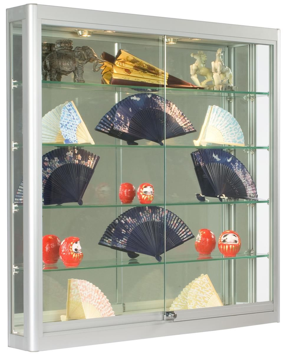 Glass Showcase Designs For Living Room: 3x3 Wall Mounted Display Case W/Slider Doors & Mirror Back