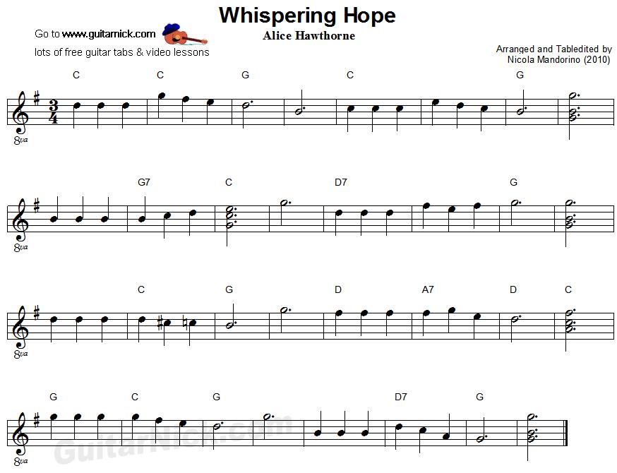 Whispering Hope - easy guitar sheet music | Zene | Pinterest | Easy ...