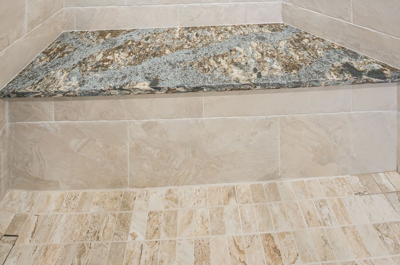 countertop on shower bench cambria hensley traditional and airy rh pinterest com
