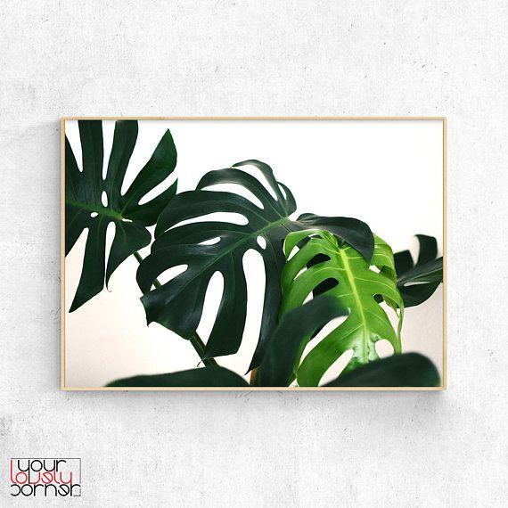 Botanical Printable Wall Art Monstera Leaf Print Tropical Digital Poster Download Green