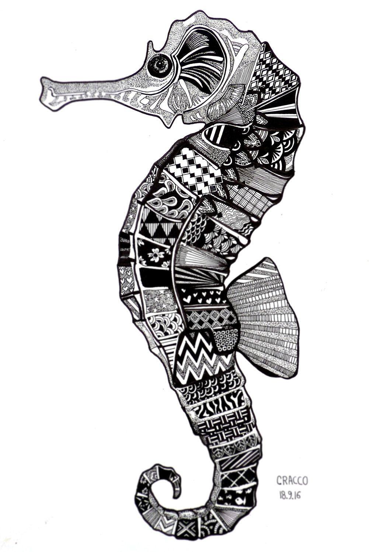 SEAHORSE (original and fine illustration of animal, fish, patterns ...