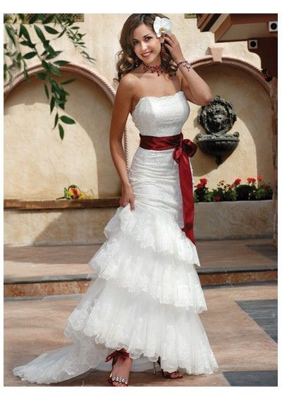 Red Wedding Dresses with Belt