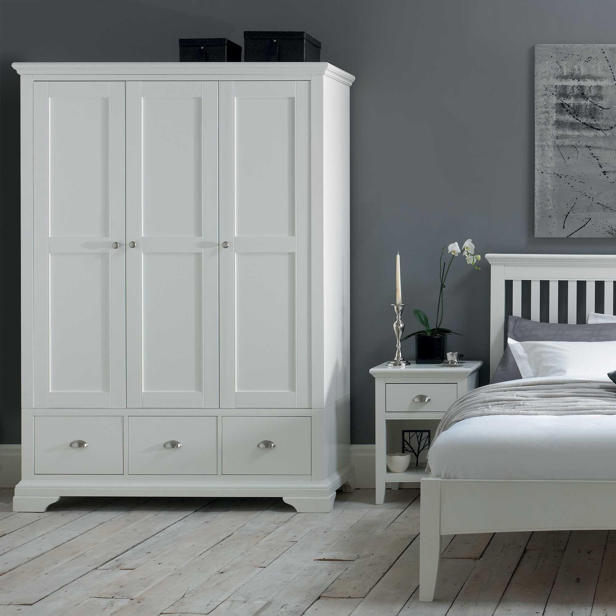 The Carrington White Triple Wardrobe White Bedroom Furniture - Carrington bedroom furniture