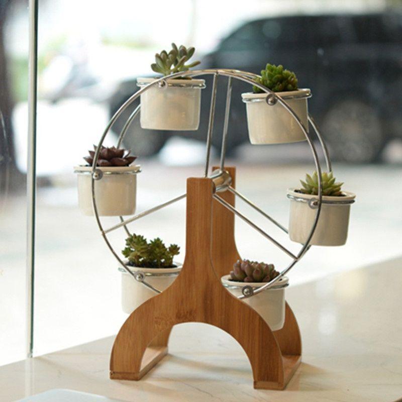 Ferris wheel shelf with 6 ceramic flower pots holder