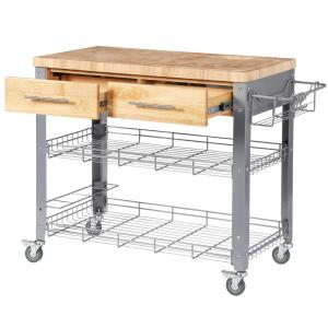 Chris And Chris Stadium Natural Wood Kitchen Cart With Storage Jet1221 In 2020 Kitchen Cart Stainless Steel Kitchen Cart Natural Kitchen