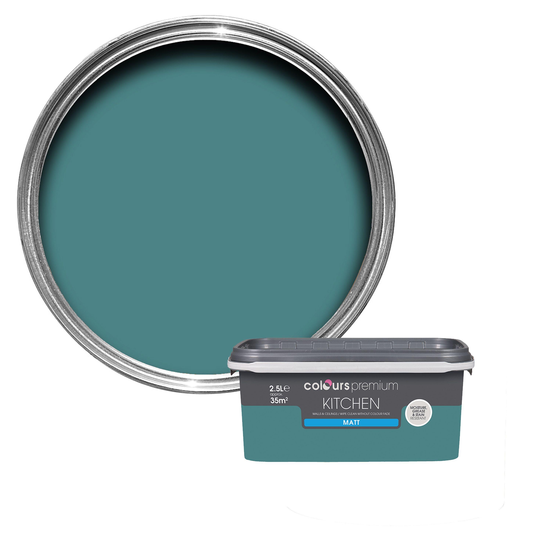 Colours Kitchen Barbados Blue Matt Emulsion Paint 2 5l Departments Diy At B Q Bathroom Colors Soft Sheen Rose Paint Color