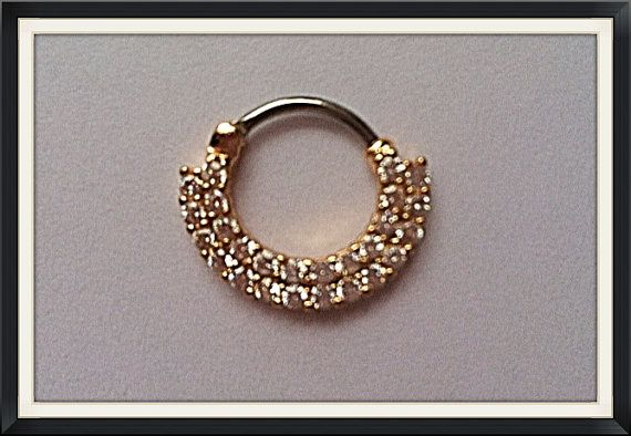 Photo of Wire Wrap Gold SEPTUM CLICKER Diamond Simulant cz 2 Row 26 round stones, gold plated surgical steel DAITH Ring 16g 8mm across 10mm drop