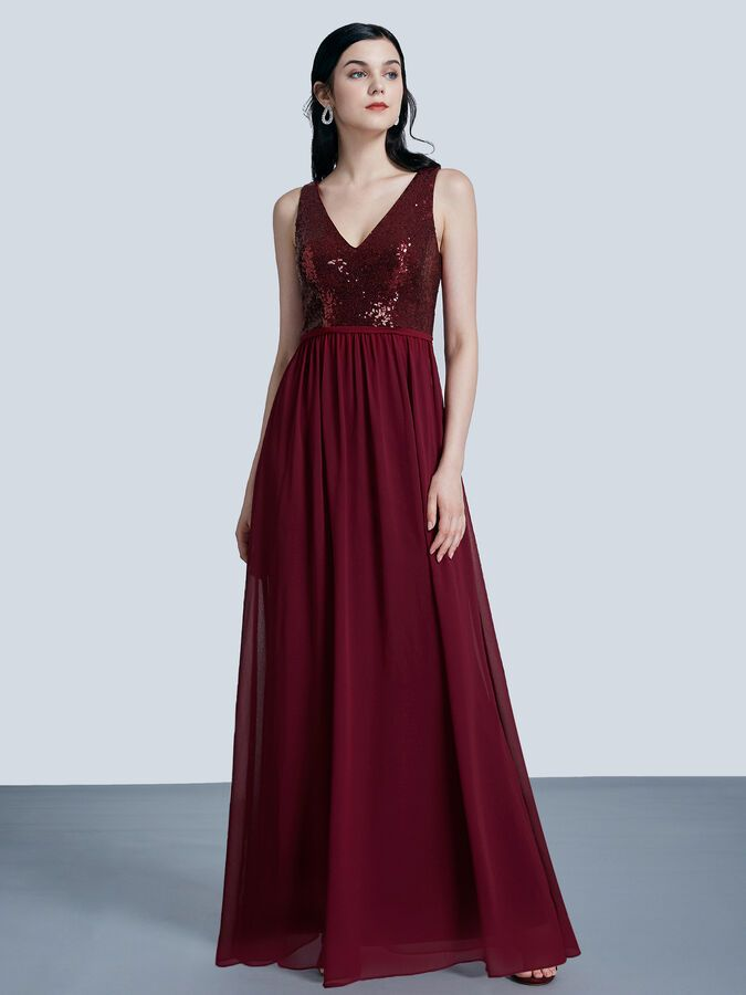 Ever-Pretty Long V-neck Burgundy Bridesmaid Dresses Sequins Cocktail Gowns 07346 ,
