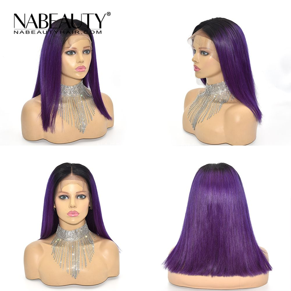 1B Purple Color Lace Front Wig Pre Plucked Ombre Straight