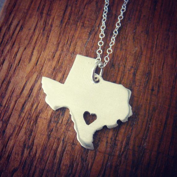 Sterling Silver Texas Love Necklace Heart is Made by sprout1world, $45.00. I want this necklace so bad!