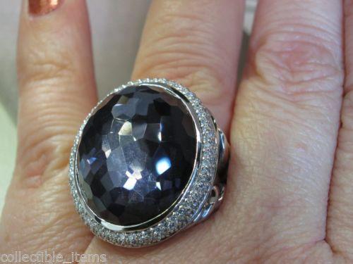 David Yurman 24mm x 20mm Black Orchid Oval Diamond Sterling Silver ...